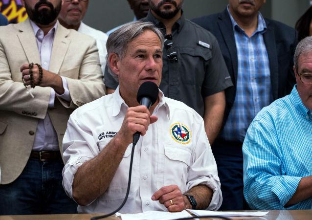 Texas Governor Greg Abbott at the El Paso Regional Communications Center in El Paso, Texas