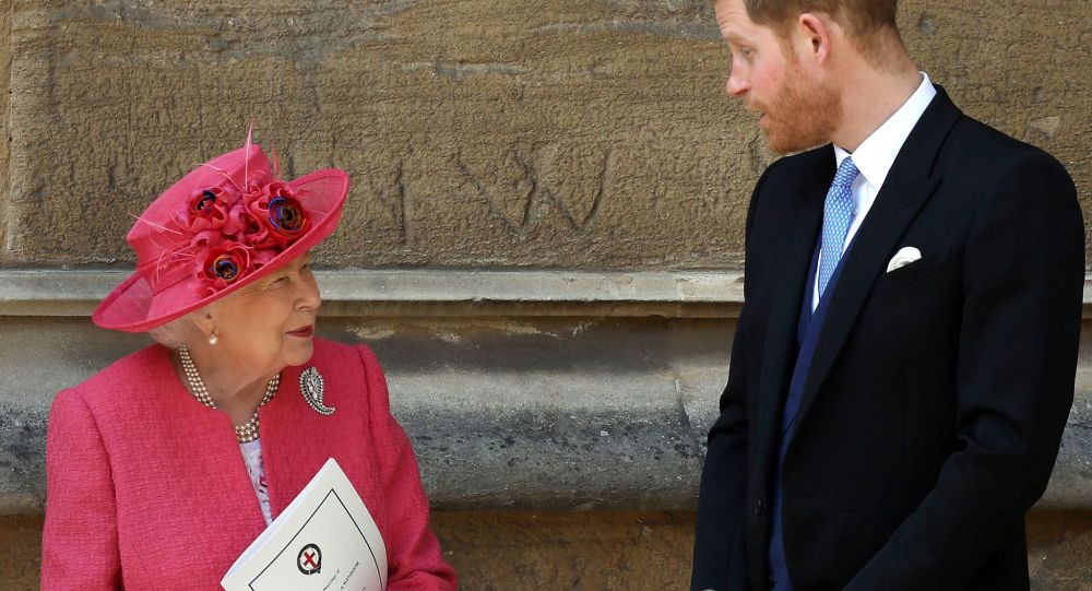 In this file photo taken on May 18, 2019, Britain's Queen Elizabeth II (L) and Britain's Prince Harry, Duke of Sussex, leave St George's Chapel in Windsor Castle, Windsor, west of London, after the wedding of Lady Gabriella Windsor and Thomas Kingston