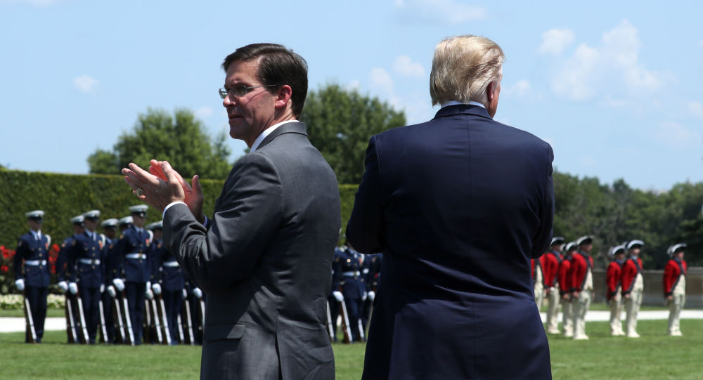 ARLINGTON, VA - JULY 25: U.S. President Donald Trump (R) and Secretary of Defense Dr. Mark Esper (L) inspect the troops during a full honors welcome ceremony on the parade grounds at the Pentagon, on July 25, 2019 in Arlington, Virginia. Earlier this week Esper was sworn in as the 27th Secretary of Defense