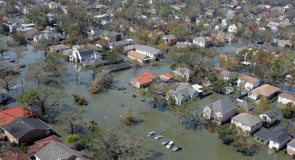 More than two weeks after Hurricane Katrina hit the Gulf Coast, residential streets in New Orleans remained waterlogged