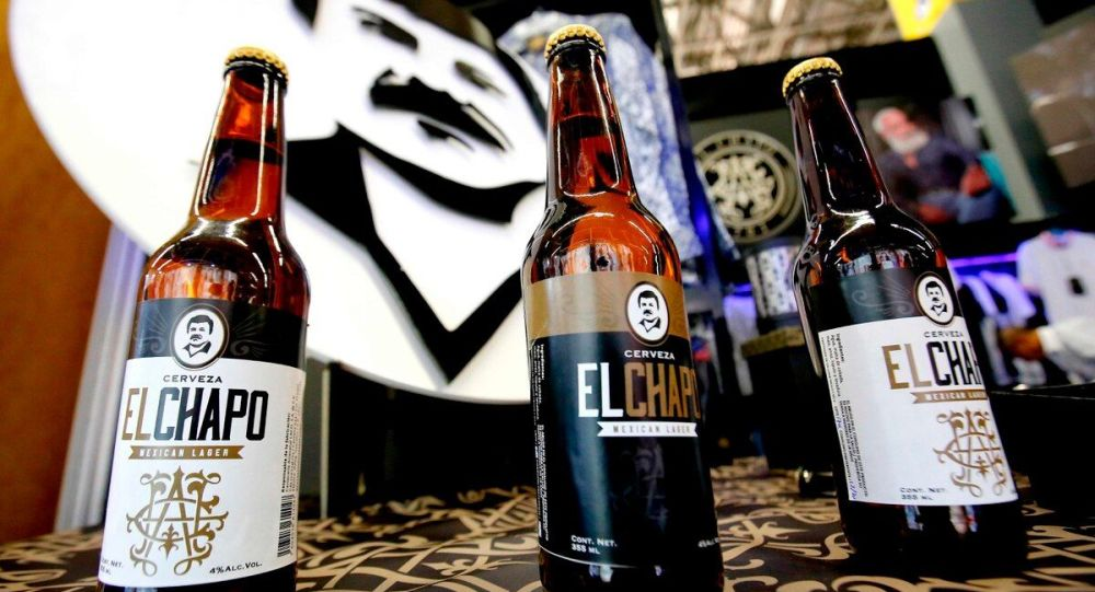 Bottles of beer of El Chapo 701, a line in clothing, jewelry and liquor bearing the nickname of the jailed Mexican drug lord Joaquin El Chapo Guzman Loera, are displayed during the 72 edition of IM Intermoda Mexico fashion fair in Guadalajara, Mexico, on January 14, 2020