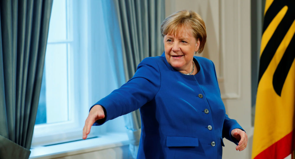 Chancellor Angela Merkel attends the New Year's reception at the presidential Bellevue Palace in Berlin, Germany, January 9, 2020.