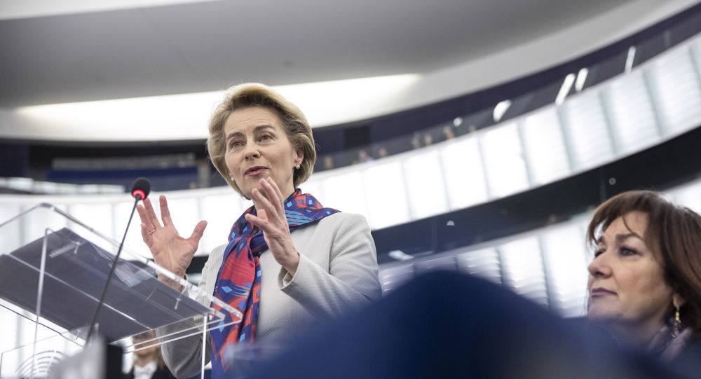 European Commission President Ursula von der Leyen delivers her speech at the European parliament Tuesday, Jan.14, 2020 in Strasbourg, eastern France.