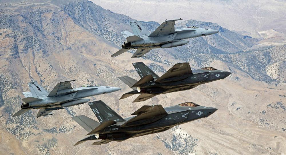 F-35C Lightning IIs and F/A-18E/F Super Hornets