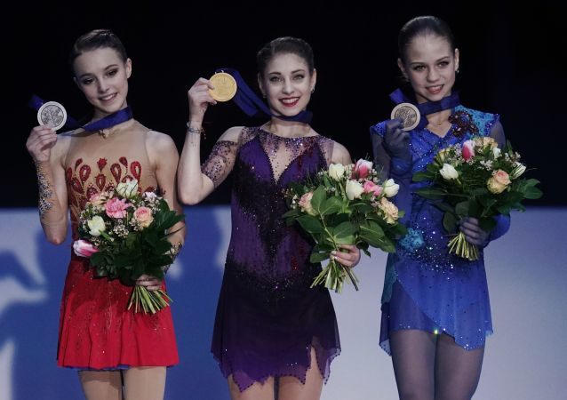 Russia's Alena Kostornaya, Anna Sherbakova, and Alexandra Trusova at European Figure Skating Championship 2020 in Graz