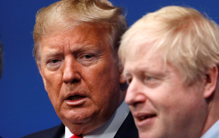 Britain's Prime Minister Boris Johnson welcomes U.S. President Donald Trump at the NATO leaders summit in Watford