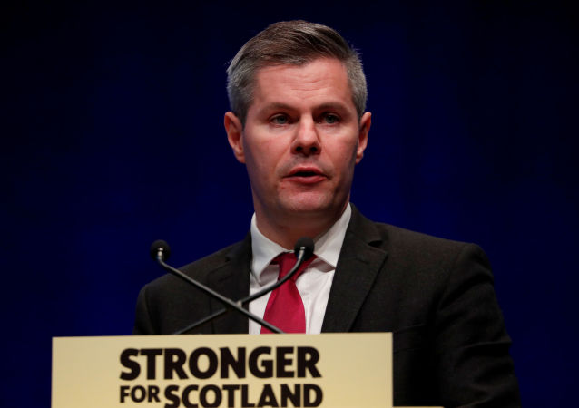 FILE PHOTO: Scotland's Finance Secretary Derek Mackay makes a speech during the SNP autumn conference in Aberdeen, Scotland, Britain October 14, 2019. REUTERS/Russell Cheyne/File Photo