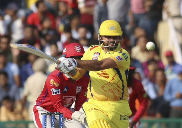 Suresh Raina of Chennai Super Kings bats during the VIVO IPL T20 cricket match between Kings XI Punjab and Chennai Super Kings in Mohali, India, Sunday, May 5, 2019