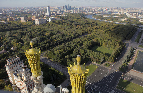Bird's eye view of Russian capital from Moscow University tower