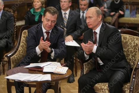 President Medvedev and Prime Minister Putin visit St. Petersburg