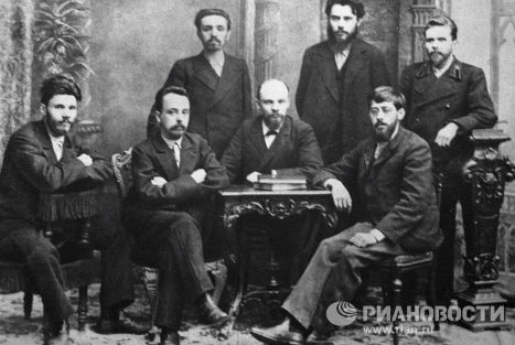 The leader of the world proletariat, Vladimir Lenin, his comrades and relatives