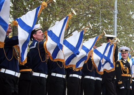 Ukrainian, Russian sailors train for the Victory Day parade in Sevastopol