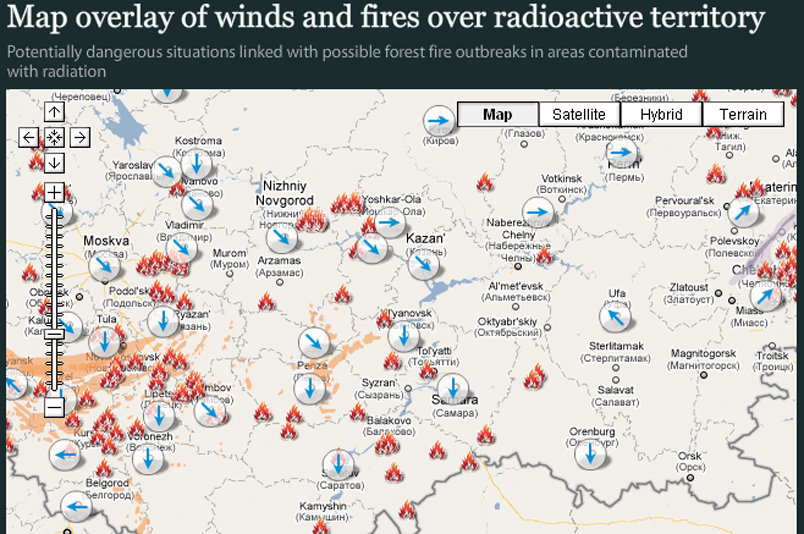 Map overlay of winds and fires over radioactive territory