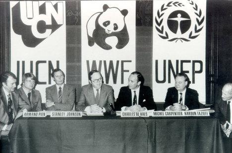 Запуск Стратегии в Бельгии, 1980 г., представители МСОП, ЮНЕП и WWF