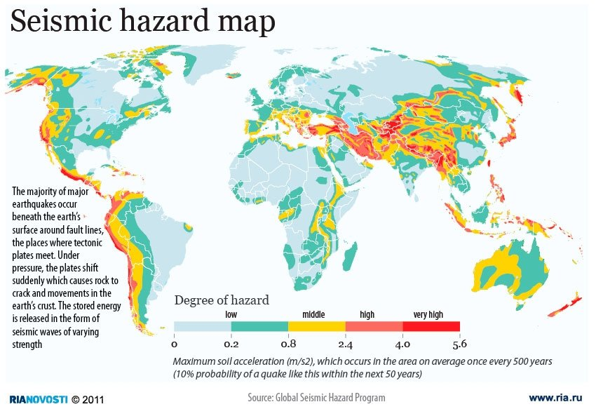 Seismic hazard map   Sputnik International