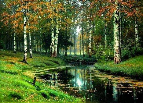 Golden autumn by Efim Volkov