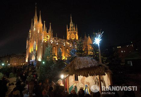 Празднование католического Рождества в Москве