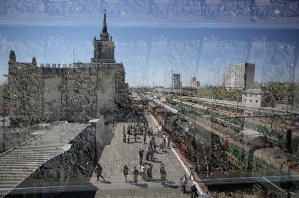 Прибытие ретро-поезда Победа в Волгоград
