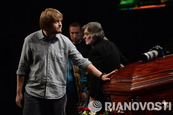 Mourning ceremony for the late photo journalist Andrei Stenin at the Rossiya Segodnya agency's press center.