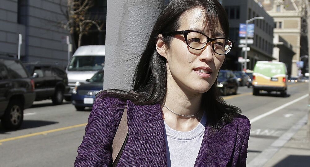 In this Feb. 24, 2015 file photo, Ellen Pao leaves the Civic Center Courthouse during a lunch break during her trial in San Francisco. Pao said she was abruptly fired after filing a lawsuit alleging gender discrimination.