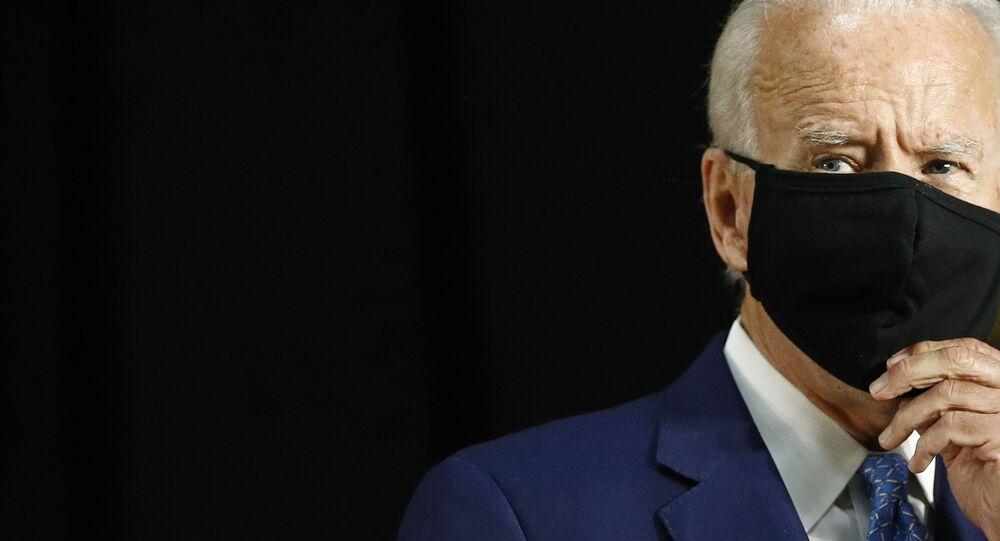 Democratic presidential candidate, former Vice President Joe Biden speaks at Alexis Dupont High School in Wilmington, Del., Tuesday, June 30, 2020