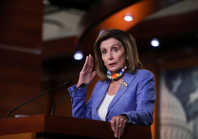 U.S. House Speaker Nancy Pelosi (D-CA) speaks to reporters following a classified intelligence briefing on reports that Russia paid the Taliban bounties to kill U.S. military in Afghanistan, during her weekly news conference on Capitol Hill in Washington, U.S. July 2, 2020.