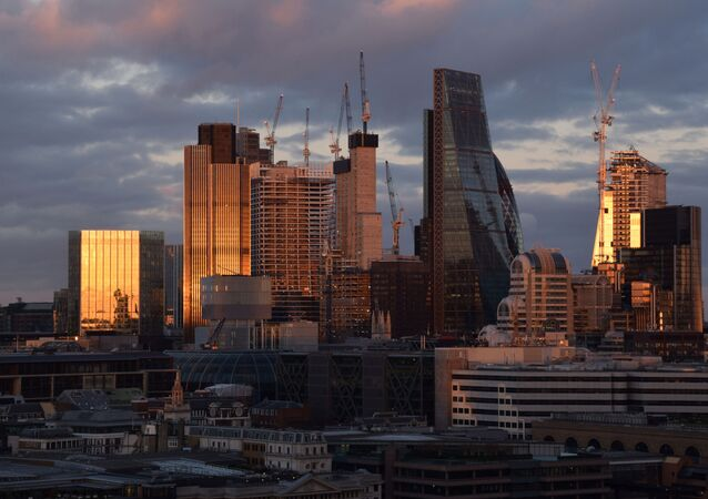 City of London skyline at sunset.