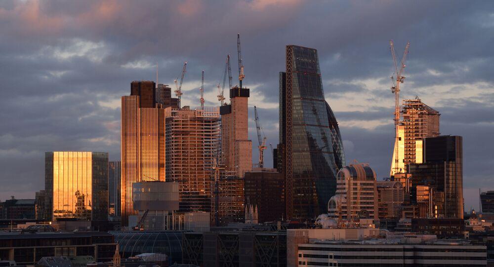 City of London skyline at sunset.