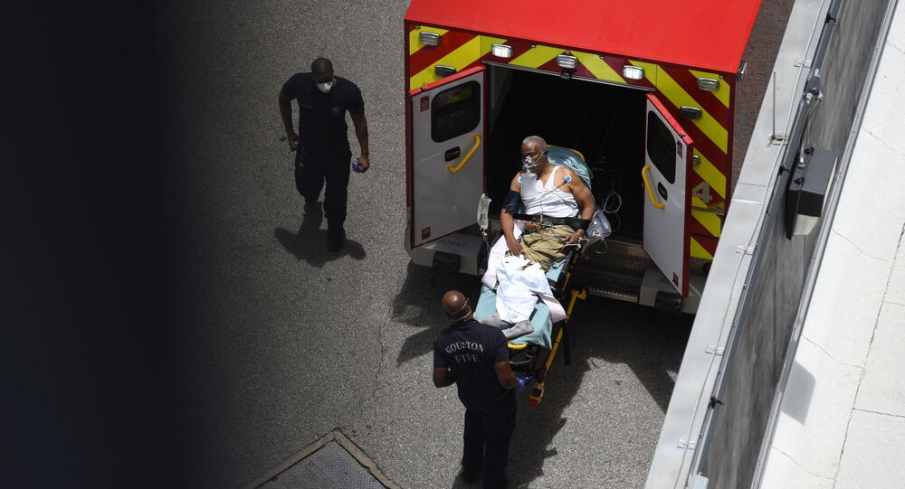 A man arrives at Houston Methodist Hospital emergency room on a stretcher amid a coronavirus disease (COVID-19) outbreak in Houston, Texas, U.S., June 28, 2020