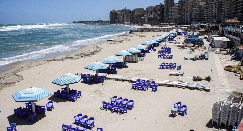 Deserted beach in Egypt's northern Mediterranean coastal city of Alexandria