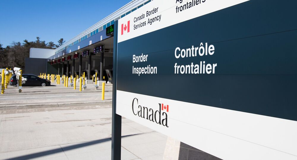 Canadian border station at the US/Canada border in Lansdowne, Ontario