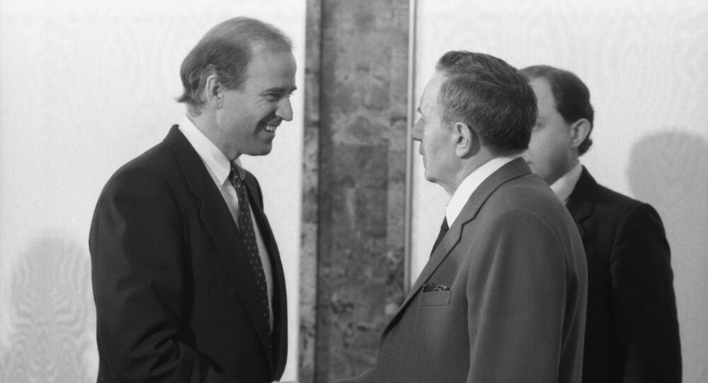 A visit by US Senator Joe Biden to the USSR. US Senator representing Delaware and member of the U.S. Senate Committee on Foreign Relations, Joe Biden, left, and Presidium of the Supreme Soviet of the USSR Andrei Gromyko during their meeting at the Kremlin.