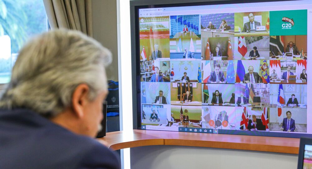 Handout photo released by Argentina's Presidency showing Argentine President Alberto Fernandez talking during the G20's video conference meeting at the Olivos Presidential residence in Buenos Aires outskirts, on March 26, 2020