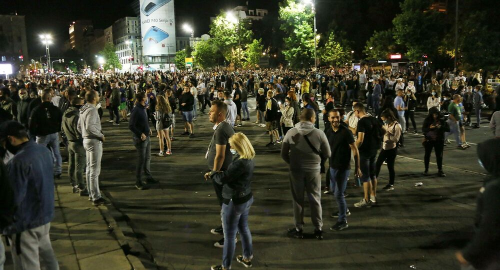 The protests outside the parliament, Belgrade