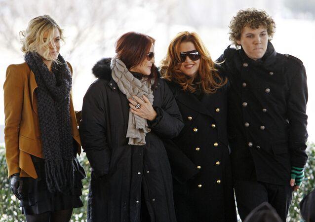 Priscilla Presley, her daughter, Lisa Marie, and Lisa Marie's children, Riley Keough, 21, and Benjamin Keough, 18