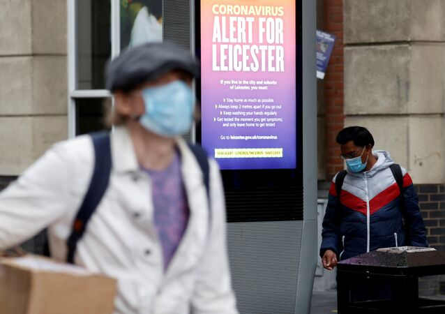 An NHS alert message is seen on a street, following a local lockdown imposed amid the coronavirus disease (COVID-19) outbreak, in Leicester, Britain, 1 July, 2020