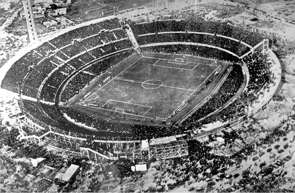 This archive photo from 30 July 1930 shows an aerial view of the Centenario Stadium in Montevideo, Uruguay. Uruguay scored a 4-2 win over Argentina in the World Cup Final. On 13 July 1930, the national teams played the first matches of the world championship: France beat Mexico 4:1, and the United States defeated Belgium 3:0. The games were played in other smaller stadiums in Montevideo. (AFP Photo)