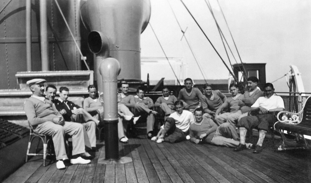 Players of the French national football team pose for a group photo after lunch on board the Conte Verde liner in July 1930 on their way to Uruguay to participate in the first World Cup. (AP Photo)