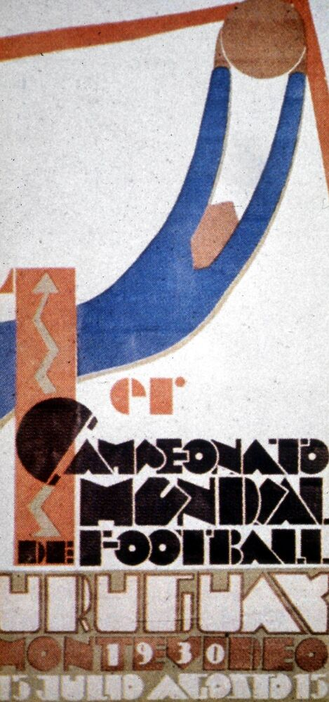The World Cup logo, Uruguay, 1930. Uruguay beat Argentina 4-2 in the World Cup Final to win the Jules Rimet Trophy. (AP Photo)