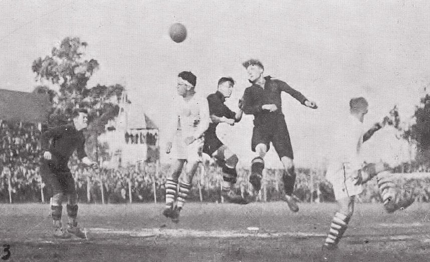 Match between Belgium and the United States at the 1930 World Cup.