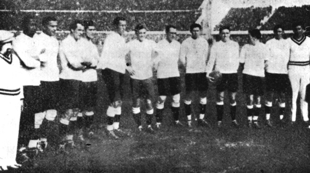 Players of the Uruguay national team pose before the final match against Argentina in Montevideo, Uruguay, on 30 July 1930. Uruguay defeated Argentina 4-2 in the World Cup Final. (AP Photo)