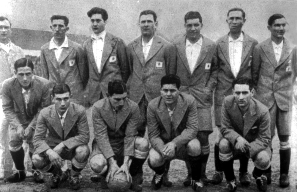 Argentina's national team before the match with Uruguay on 30 July 1930 in Montevideo. (AP Photo)