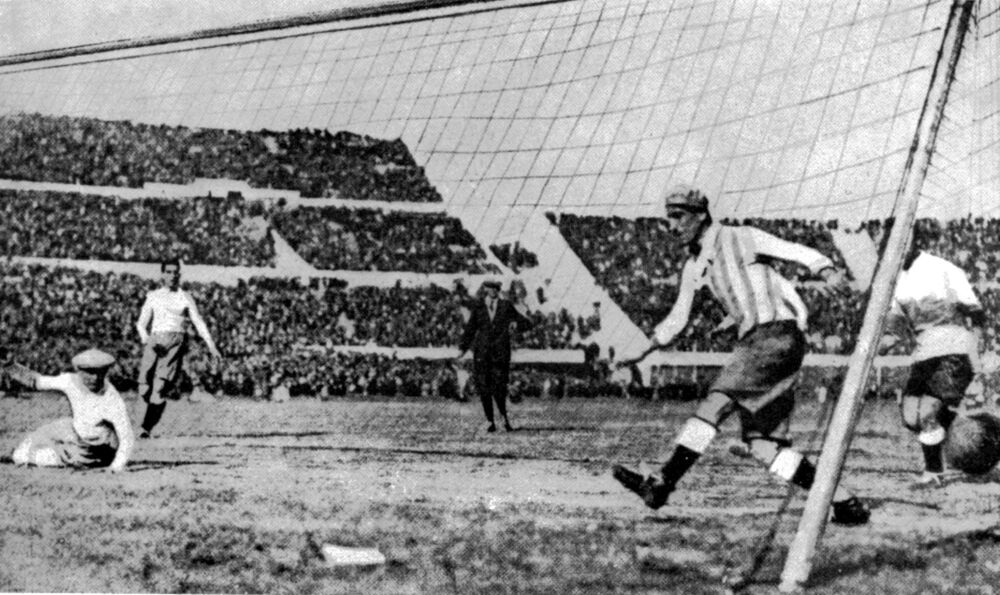Uruguay's first goal at the World Cup Final against Argentina, in Montevideo, Uruguay, 30 July 1930. Uruguay defeated Argentina 4:2.