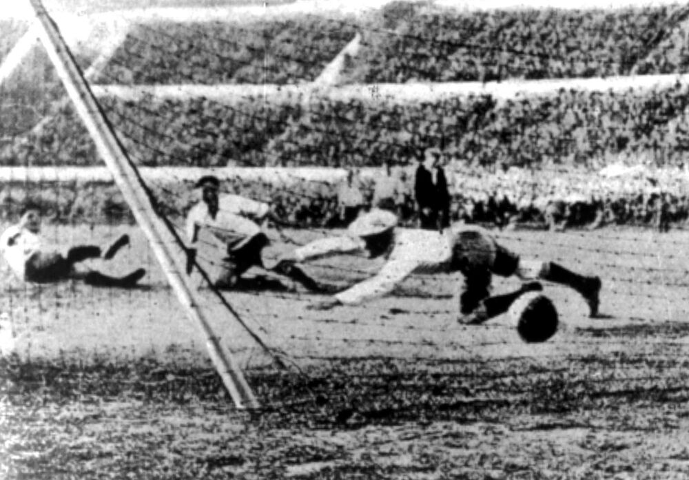 Uruguay scores during the World Cup Final against Argentina in Montevideo, Uruguay, 30 July 1930. (AP Photo)