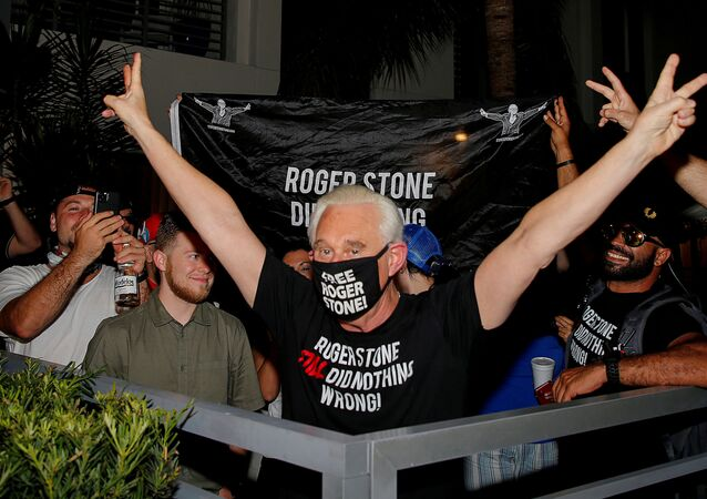 Roger Stone, a longtime friend and adviser of U.S. President Donald Trump, reacts after Trump commuted his federal prison sentence, outside his home in Fort Lauderdale, Florida, U.S. July 10, 2020.  REUTERS/Joe Skipper