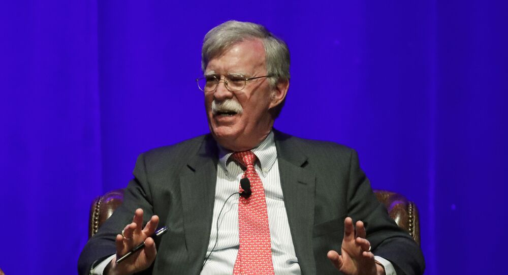 Former national security adviser John Bolton takes part in a discussion on 19 February 2020 about global leadership at Vanderbilt University in Nashville, Tennessee. An attorney for Bolton said on 10 June that President Donald Trump is trying to halt publication of Bolton's forthcoming memoir after White House lawyers raised concerns that the book contains classified material.
