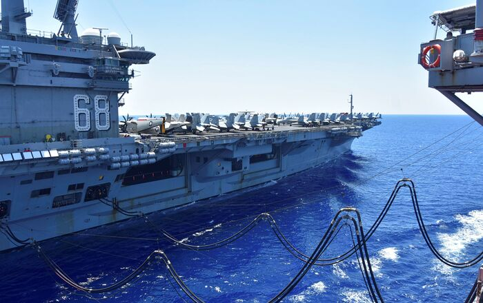 The U.S. Navy aircraft carrier USS Nimitz receives fuel from the Henry J. Kaiser-class fleet replenishment oiler USNS Tippecanoe during an underway replenishment in the South China Sea July 7, 2020. Picture taken July 7, 2020