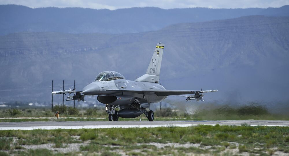 This photo, taken 17 August 2017 and provided by the US Air Force, shows an F-16 Fighting Falcon ready for take-off in preparation to perform a final joint flying mission at Holloman Air Force Base in Alamogordo, NM.