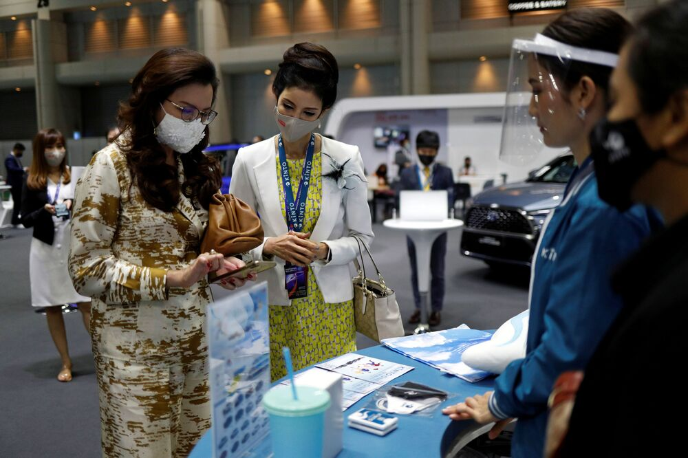 Customers are seen during the media day of the 41st Bangkok International Motor Show after the Thai government eased measures to prevent the spread of the coronavirus disease (COVID-19) in Bangkok, Thailand July 14, 2020.