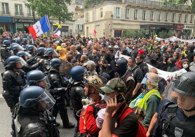 Anti-government protest in Paris on 14 July 2020